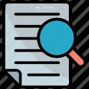 audit, doc, document, search, text, find paper, magnifier