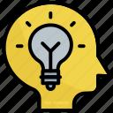brain, creative, idea, innovation, lamp, light, mind
