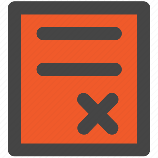 cancel, check, clipboard, cross sign, not accepted, rejected report, wrong article icon