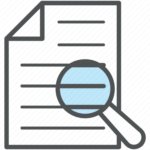 analyze, file, investigate, magnifier, magnifying, research, search document icon