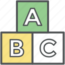 abc, alphabet, alphabet blocks, kids, kindergarten, preschool, toy blocks icon