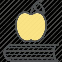 apple, book, diet, eating, healthy diet, lunch break, schooling icon