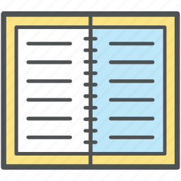 daybook, diary, diary page, journal, memo, note, notebook icon