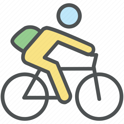 bicycle, bike, biker, cycle, cyclist, riding bicycle, school going, student icon