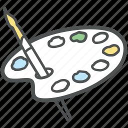 paint, paint brush, paint palette, painting, painting brush, painting tools, palette icon