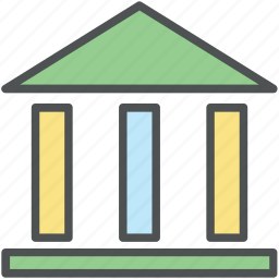 bank, bank building, banking, building, building column, finance icon