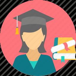 degree, girl, graduate, graduation, scholar, scholarship, student icon