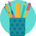 erasor, pen, pen stand, pencil, penstand, stationary, stationery icon