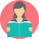 book, girl, homework, learn, learning, read, student icon