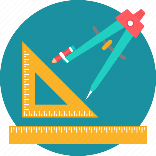 draw, geometry, pencil, ruler, scale, stationary, stationery icon