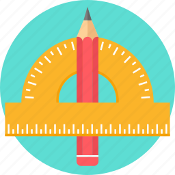 draw, geometry, math, maths, pencil, scale, stationary icon