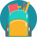 backpack, bag, education, ruler, school, stationary, student icon