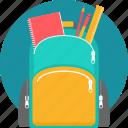 backpack, bag, school, stationary, education, ruler, student