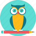 cartoon, character, class, emoji, owl, professor, teacher icon