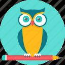 teacher, cartoon, character, owl, professor, class, emoji icon