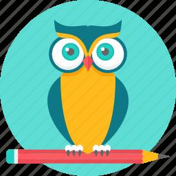 cartoon, character, class, emoji, owl, professor, teacher icon
