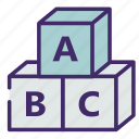 abc, alphabet, cube, study, toy icon