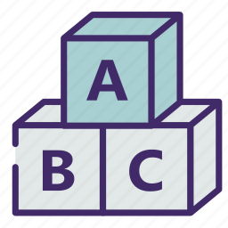 abc, alphabet, cube, study, toy icon