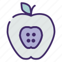 apple, education, fruit, health, idea icon