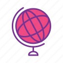 education, globe, map, study, world icon