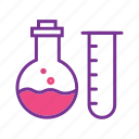 chemistry, experiment, lab test, laboratory, science, solution, test tube and beaker icon