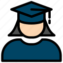 education, female, graduate, graduation, school, student, user icon