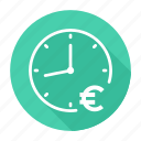 clock, euro, money, time is money icon