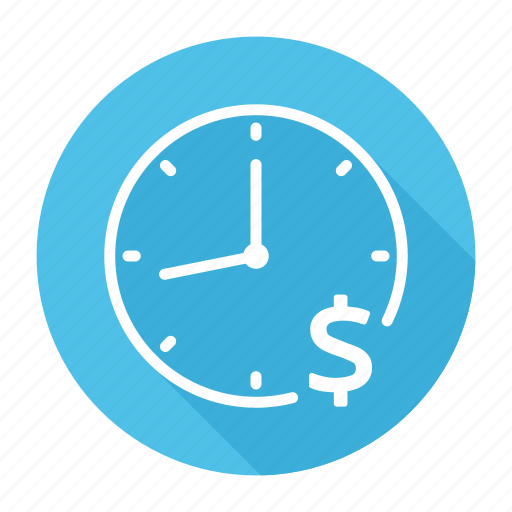 clock, dollar, money, time, time is money icon