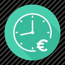 clock, euro, money, time is money icon