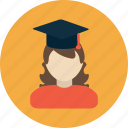 account, avatar, college, education, female, learn, student icon