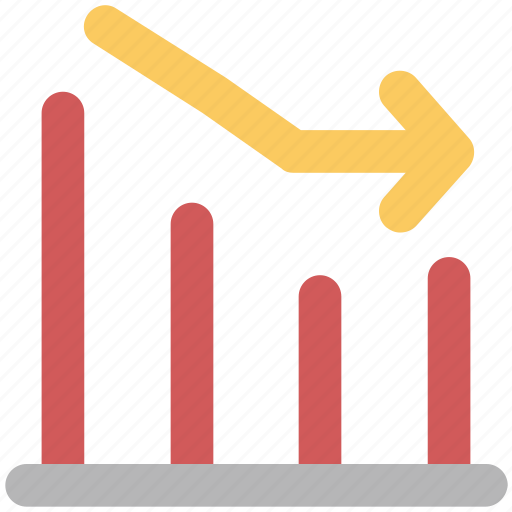 business chart, chart, decreasing chart, graph, loss chart icon