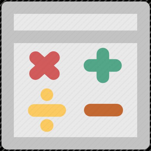 accounting, calculation, calculator, calculator keys, mathematical signs icon