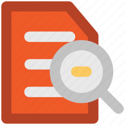 magnifier, online searching, paper searching, searching document, text, text searching icon