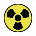nuclear, radiation, sign, warning icon