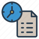 clock, deadline, document, extension, file, format, paper icon