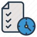 clock, deadline, document, extension, format, paper, timeflies icon