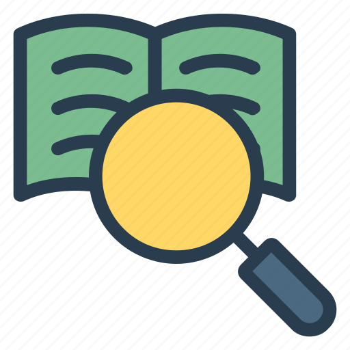 book, find, glass, library, magnifier, search, zoom icon