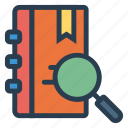 diary, find, glass, library, magnifier, search, zoom icon