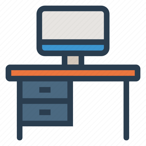 desk, laptop, monitor, office, pc, screen, table icon