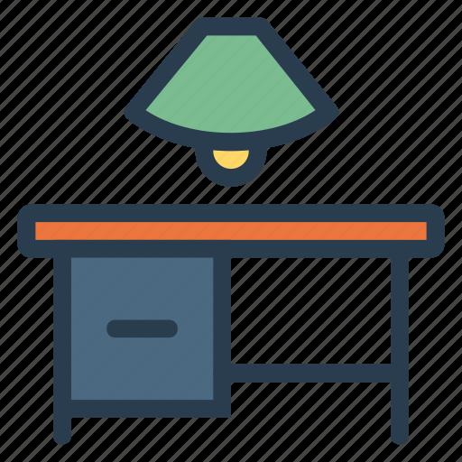 desk, furniture, lamp, light, officetable, tablet, woodtable icon