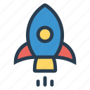 launch, launchconcept, rocket, space, spaceship, startup, websitelaunch icon