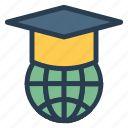 cap, education, global, graduation, learning, school, study icon