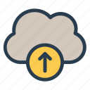 clouds, computing, data, fileupload, storage, upload, weather icon