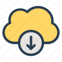 arrow, clouds, data, download, storage, weather icon