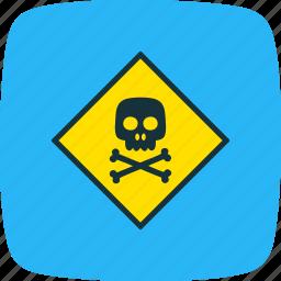 board, sign, toxic, warning icon