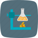 experiment, fire under flask, flask stand icon