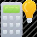 calculator, education, ideas, light bulb, math, numbers
