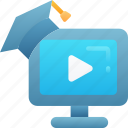 course, degree, education, learning, online, teaching, video icon