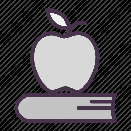 apple, book, break, fruit, lunch, lunch break, textbook icon