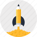 astronomy, imagination, pencil, research, rocket, school, startup icon